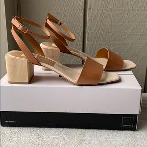 Dolce Vita Zarita Camel Leather Wood Block Heel 8